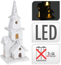 CHURCH WITH LED 28CM WHITE