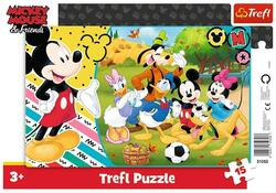 Puslespil 15 brikker - Mickey Mouse & Friends med ramme